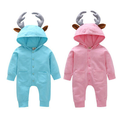 US Baby Boy Girl Toddler 3D Hooded Romper Jumpsuit Bodysuit Clothes Outfit 0-24M