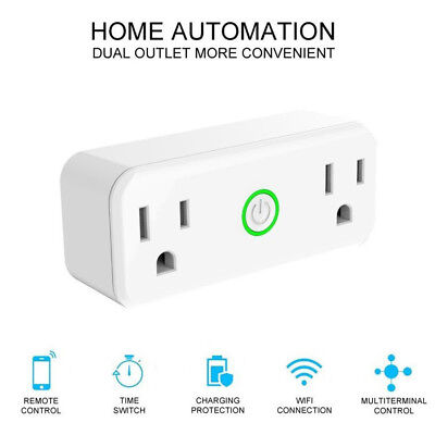Smart Plug Alexa WiFi Socket Swtich Dual Outlet For Echo Google CTRL Remote BNH