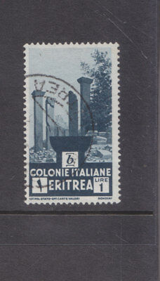 ERITREA-1933-ITALIAN COLONY-1 LIRE-RUINS AT CHOLLOE-BLUE-SG 205-F/U-$5-freepost