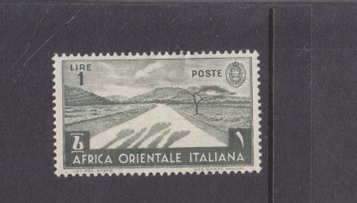 ITALIAN EAST AFRICA-1938-1 LIRE OLIVE -MINT HINGE REMOVED-SG 12-$5-freepost