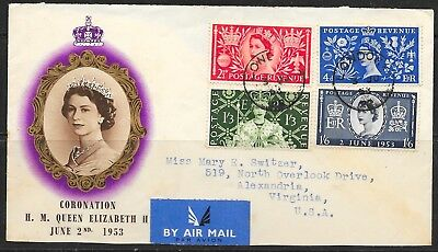 [3027]Great Britain 1953 QE II Coronation Cover AIRMAIL to Virginia U.S.A.