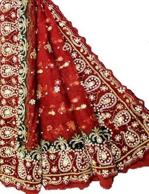 Vintage Heavy Dupatta Antique Women Bridal Long Scarf Embroidered Stole HD1082