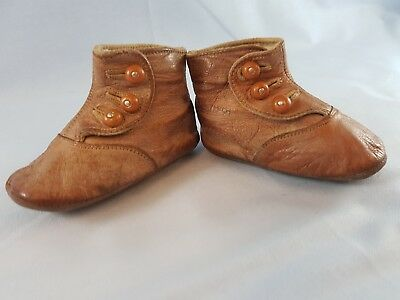 Antique Leather Buttoned Shoes Baby Doll Bear