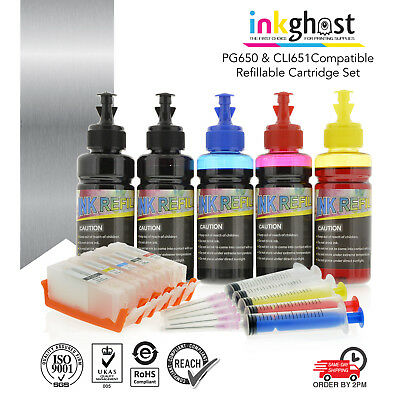 Refillable ink cartridge for Canon CLI-651 PGI-650 CLI651XL PGI650XL cartridges