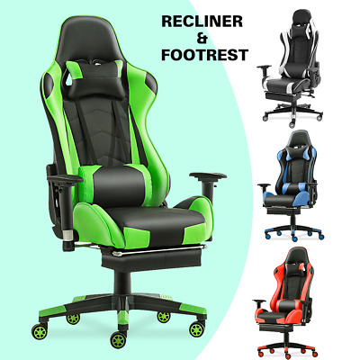 Office Chair Executive Gaming Racing Computer PU Leather Recline Seat Footrest