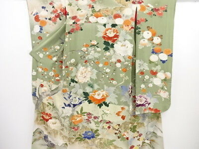 3644073: Japanese Kimono Rare! Antique Five Crest Bridal Furisode  & Juban S