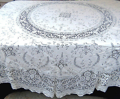 Vintage White Cotton Quaker Lace Tablecloth 87 Inch Round Style 5420