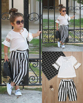 Baby Girl Kids Summer Toddler Outfits Clothes T-shirt Tops+Stripe Pants 2PCS Set