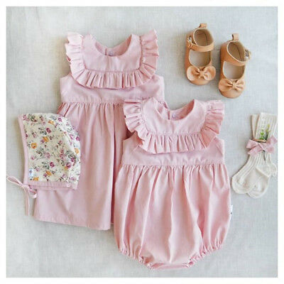 USA Newborn Kids Baby Girl Sister Matching Ruffled Romper Dress Outfits Clothes