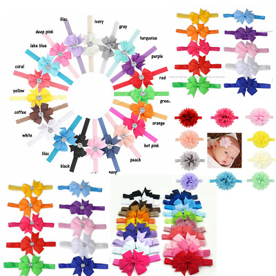 10-20pcs Elastic Baby Headdress Kids Hair Band Girls Bow Newborn Headband Ribbon