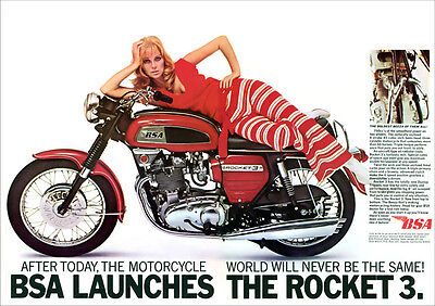 Bsa Rocket 3 Motorcycle Retro Poster A3 Print From 60's Advert
