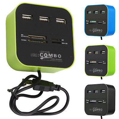 USB 2.0 Hub 3 Ports Card Reader Combo for MS/MS PRO DUO/SD/MMC/M2/Micro 51cm