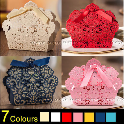 25/50/100PCS Luxury Wedding Favour Favor Sweet Cake Gift Candy Boxes Table Decor