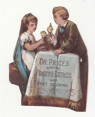 Dr Price's Flavoring Extracts & Fruit Coloring Couple at Table Cheering c1880s