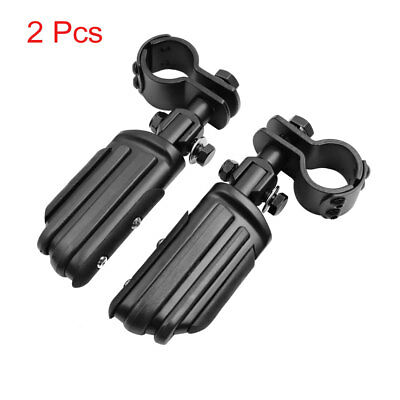 2pcs 32mm 25mm Black Engine Guard Clamp Mount Foot Pegs Footrest for Harley