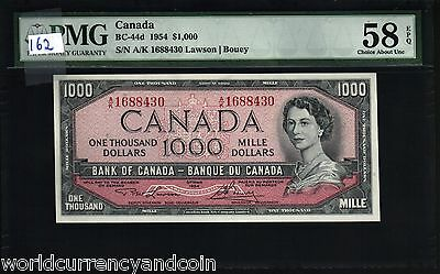 Canada 1000 Dollars P83 1954 1973-1984 Pmg 58 Queen Landscape Unc Currency Note