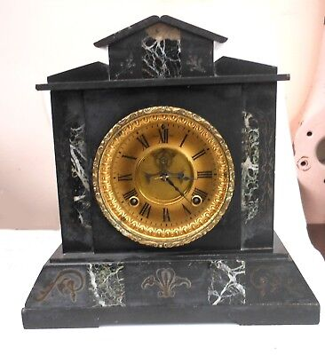 Belgium antique slate and marble clock in working order with extra large face.