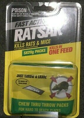 Ratsak RAT & MOUSE Baits ONE FEED KILL 5 x 20g THROW PACKS - FREE SHIP in Aust