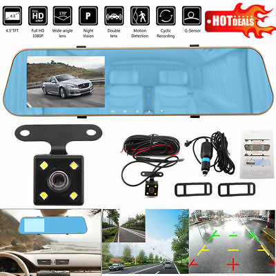 "1080P HD 4.3"" Dual Lens Car DVR Rear View Mirror Dash Cam Camera Recorder Kits"