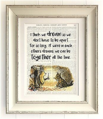 """ART PRINT ON OLD ANTIQUE BOOK PAGE *FRAMED* Winnie the Pooh Quote, 12""""x10"""", Bear"""
