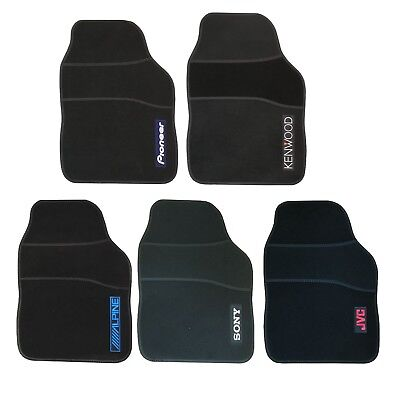 Universal Black Capet Stereo Brands Car Floor Well Mats - Front & Rear Non Slip