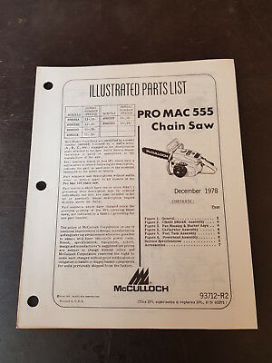McCulloch Pro Mac 555 Chain Saw Illustrated Parts List 1978