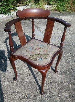 antique inlaid corner chair, pretty bedroom chair