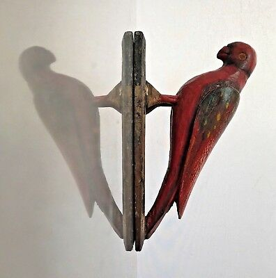 Vintage Indian Wooden Toys. Highly Decorative, Ringnecked Parakeet. Rajasthan.
