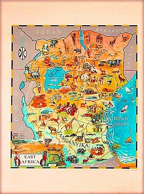 1961 Kenya East Africa Map Vintage Travel Wall Decor Advertisement Poster Print