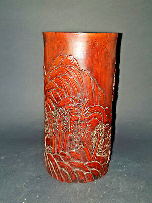 Chinese Bamboo Brush Pot Hand Carved  15Cm Tall