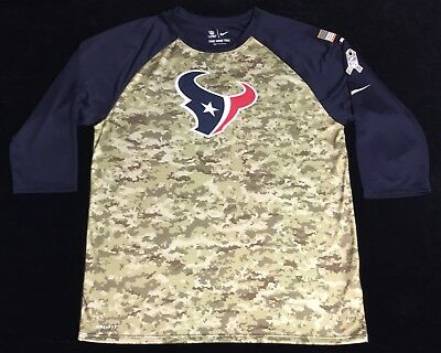 Nike Houston Texans Dri Fit Salute to Service Mens Large 3 4 Camo Raglan  Shirt db2fcef1e