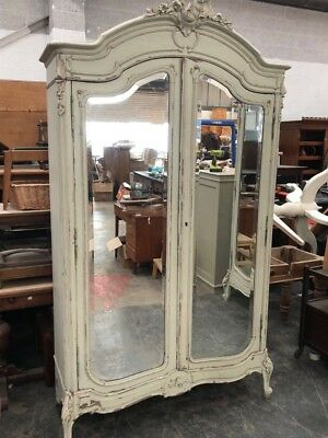 Beautiful Antique French Painted Armoire Wardrobe Mirrored Doors