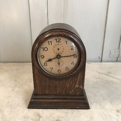 Antique 1930s oak mantel clock Art Deco style