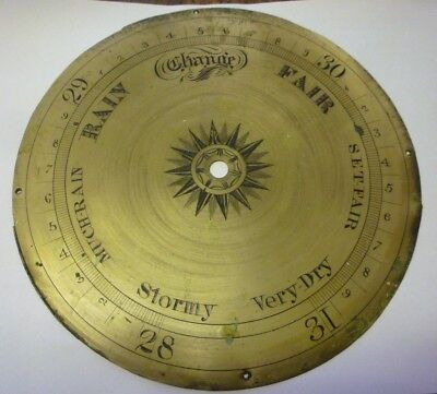 Original Antique Banjo Barometer 8ins Silvered Brass Dial (2)