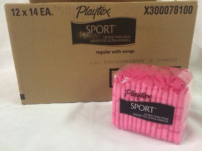 Case Of Playtex Sport Ultra Thin Pads Regular With Wings 168 Total Pads