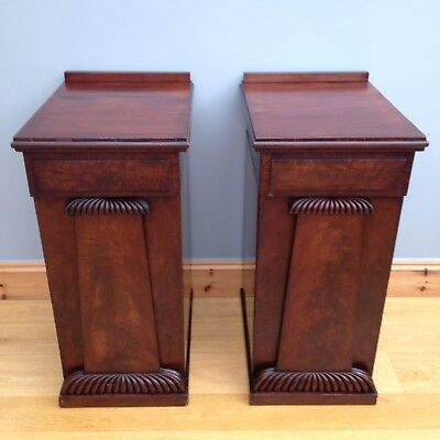 Antique Pair Flame Mahogany Pedestals William IV Plinth Cabinets Night Stands.