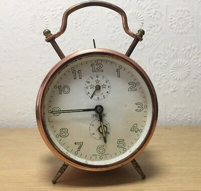 German Stylish Peters Copper Cased Bell Strike Alarm Clock Made In Germany