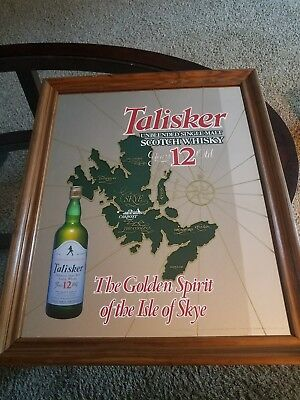 """RARE Talisker Whisky Bar Lounge Mirror 12 Years Old 22.5""""X18.5"""""""