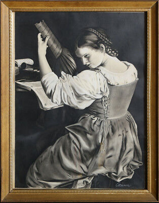 Corinne, Woman Playing Lute, Charcoal and Pastel Drawing