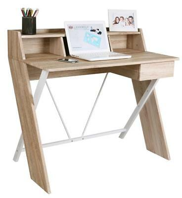 Two Tone White & Oak Effect Computer Desk Home Office Table Workstation Study