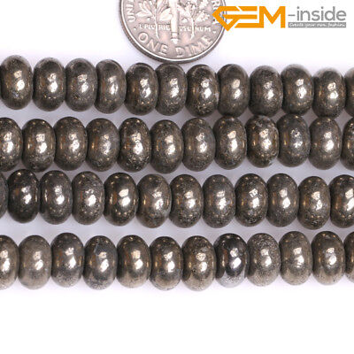 Natural Silver Gray Pyrite Stone Rondelle Heishi Spacer Beads Jewellery Making C