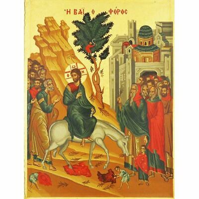 "Entry Into Jerusalem Serigraph Greek Icon Magnet Bronze Leaf 2 1/4""x2"""
