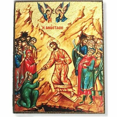 "Decent Into Hell Serigraph Greek Icon Magnet Bronze Leaf 2 1/4""x2"""