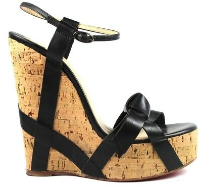 8ea74a2d638 CHRISTIAN LOUBOUTIN MISS Cristo Wedge Heels Sandal Strappy Cork Black  Leather 36