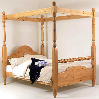 5ft King Size Four Poster Bed Frame Solid Pine Wood HIDDEN FITTINGS Barley Twist