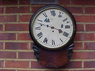 Victorian Rosewood Drop Dial Fusee Railway Station Office Wall Clock