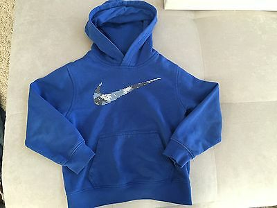 NIKE THERMA FIT Youth Boys Size 6 Blue Hooded Football