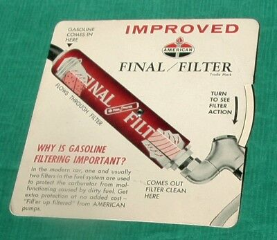 Vintage Advertising Card American Gas Oil Final / Filter Miles Per Gallon Chart