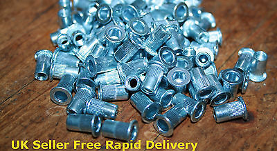 M6 Large Flange Threaded Rivnut Grooved Shank Nutserts Steel Zinc Plated An315