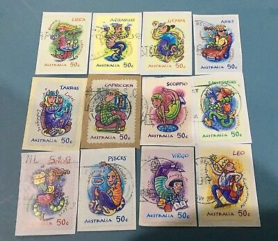 Australian 2007 Australia Zodiac  set of 12 S/A stamps, used
